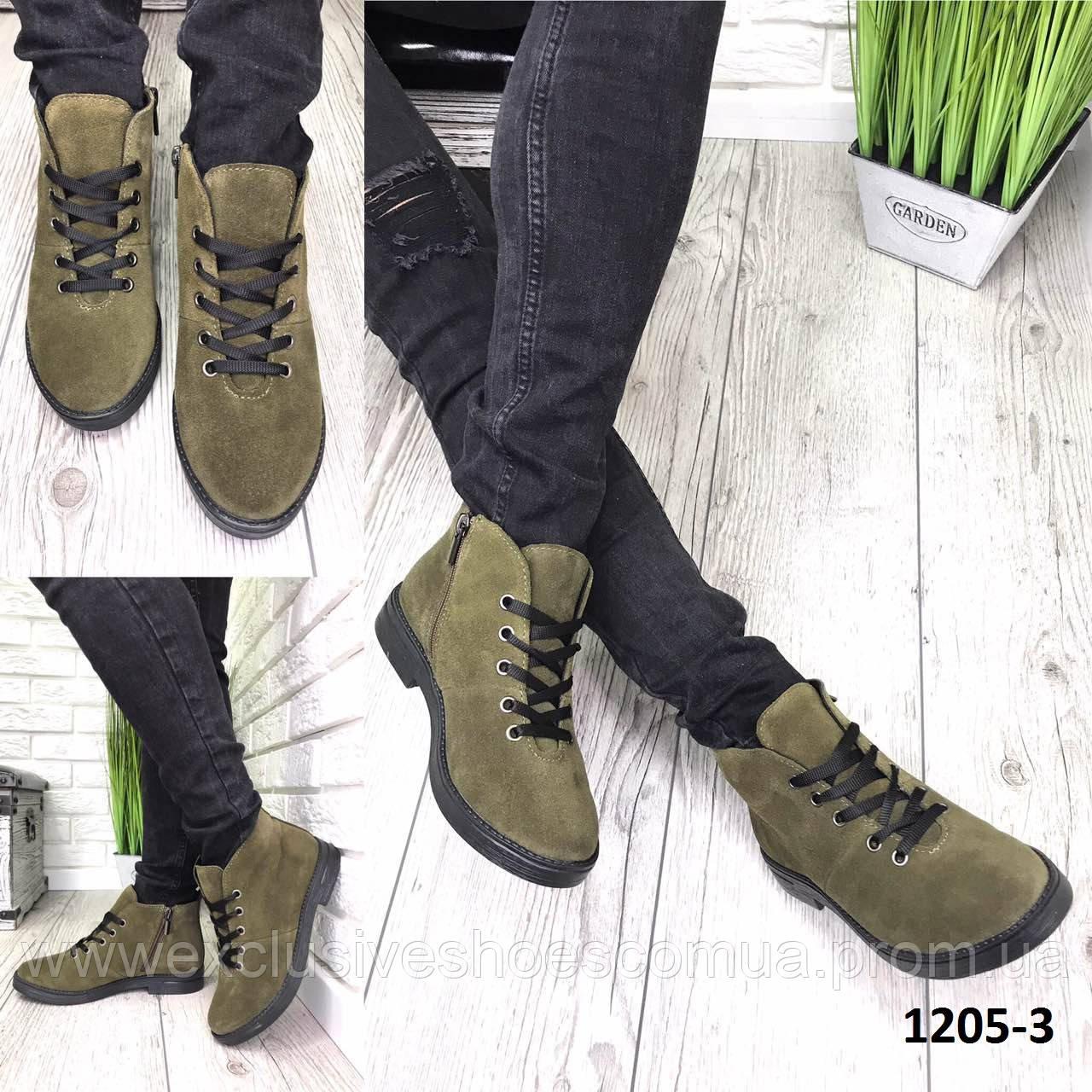 Ботинки женские демисезонные замшевые хаки классическме на шнурках