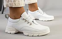 Женские кожаные кроссовки белого цвета, код FS-6907