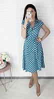 Нежное легкое на запах миди платье в горох Ткань софт размеры 42-52