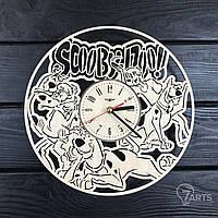 Бесшумные детские настенные часы из дерева «Скуби ду»