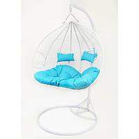Підвісне крісло-гойдалка кокон B-183Е (біло-голубе)