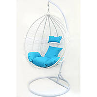 Підвісне крісло-гойдалка кокон B-183B (біло-голубе)