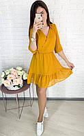 Нежное легкое шифоновое на запах мини платье  Ткань шифон размеры 42-48