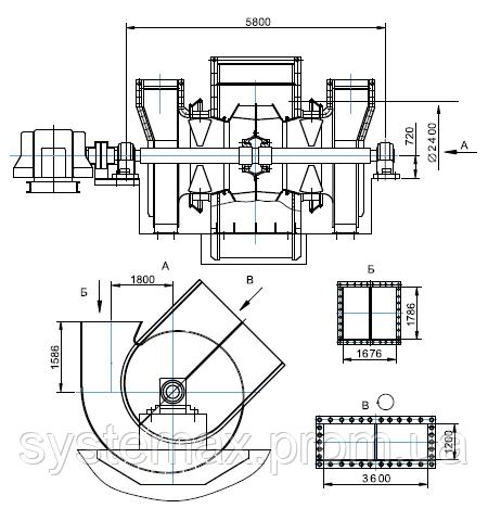 Чертеж габаритных и присоединительных размеров дымососа ДН-24x2