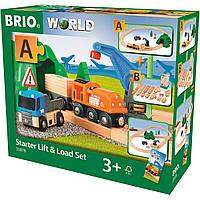Деревянная железная дорога Brio с грузовиком и краном Starter Lift & Load Set, фото 1