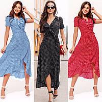 Платье женское повседневное, в горошек, летнее, стильное, на запах,с оборками, миди, модное,, фото 1