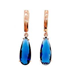 Сережки SONATA з медичного золота, темно-сині фіаніти, позолота PO, 22160