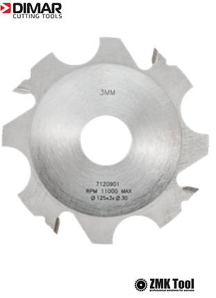 Комплект фрез DIMAR для пазів товщиною від 3 до 18 мм D=125 d=30 B=3-18 Z4, фото 2