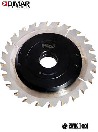 Фреза насадна DIMAR для пазування з можливістю регулювання від 3 до 6 мм D=160 d=30 B=3-6 Z24, фото 2