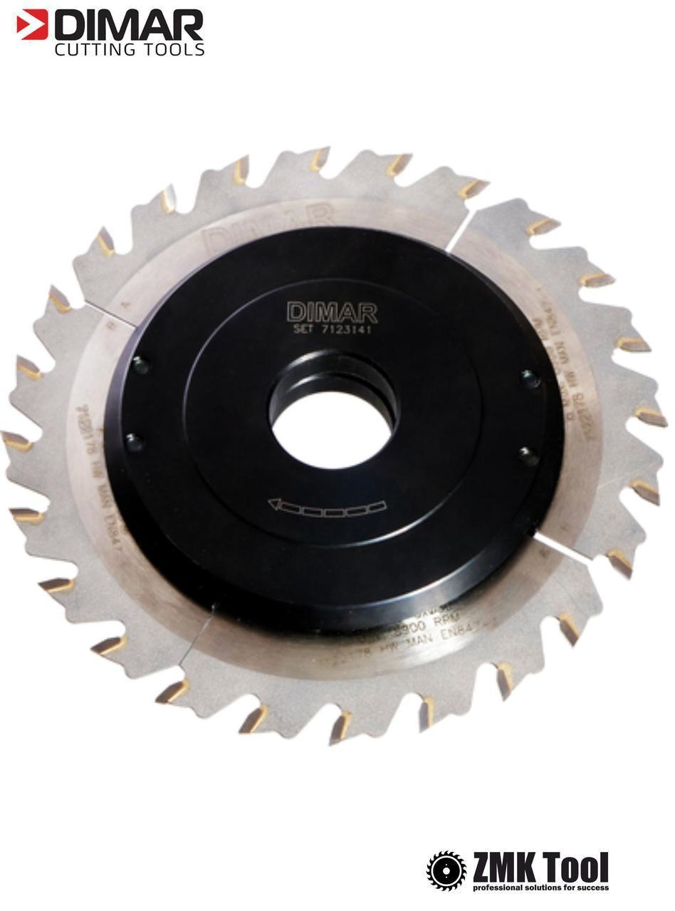 Фреза насадна DIMAR для пазування з можливістю регулювання від 1,5 до 3 мм D=160 d=30 B=1,5-3 Z24
