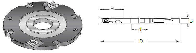 Фреза насадна DIMAR пазова 8 мм D=150 d=30-35 B=8 Z4+4, фото 2