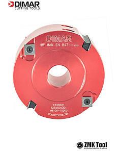 Фреза насадная DIMAR четвертная D=125 d=30-50 B=50 Z4+4 tmax=27 с аксиальным углом 10°. стальной корпус