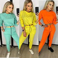Костюм спортивный женский, яркий, укороченная кофта, модный, штаны с карманами, повседневный, прогулочный, фото 1