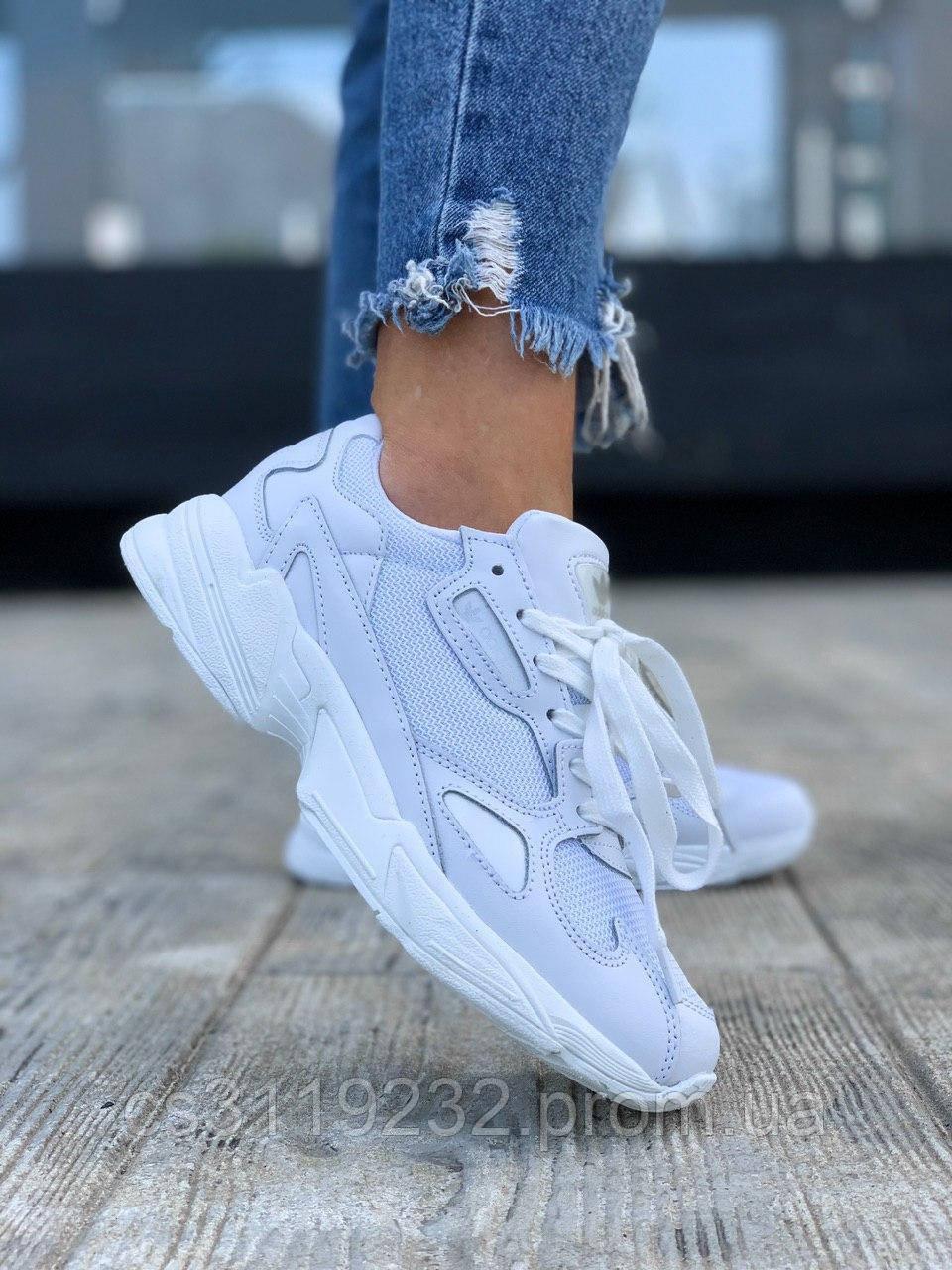 Женские кроссовки Adidas Falcon Full White (белые)