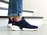 Чоловічі кросівки Adidas (темно-сині з білим) 9169, фото 3