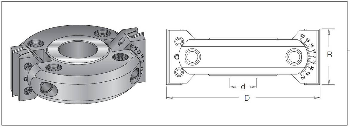 Фреза насадная DIMAR для снятия фаски с возможностью регулировки угла -90.0°+90.0° D=150 B=50 d=30-40, фото 2