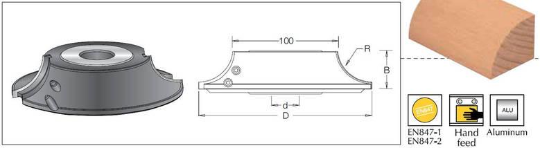 Фреза насадна DIMAR радіусна R10 D=120, B=20 d=30-50, фото 3
