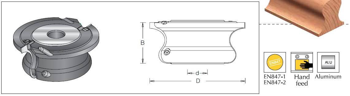 Фреза насадная DIMAR для изготовления перил D=160 B=70 d=30-50 Z2, фото 2
