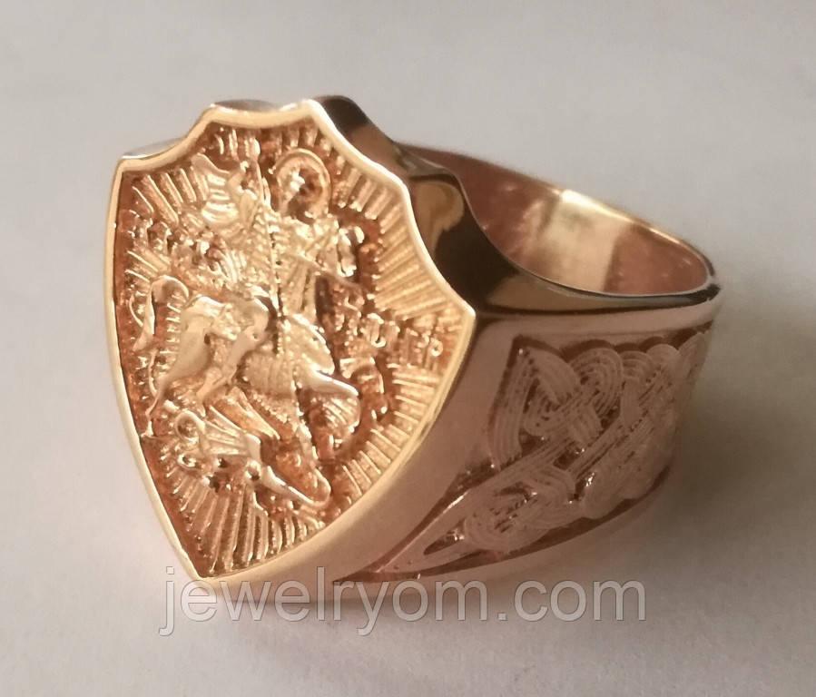 Кольцо мужское 700730ЮМ, Георгий Победоносец, золото 585 проба