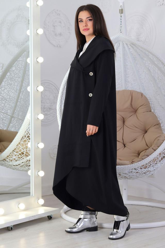 Женский длинный кардиган с капюшоном