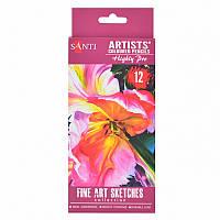 Карандаши цветные Santi Highly Pro художественные 12шт (742389)