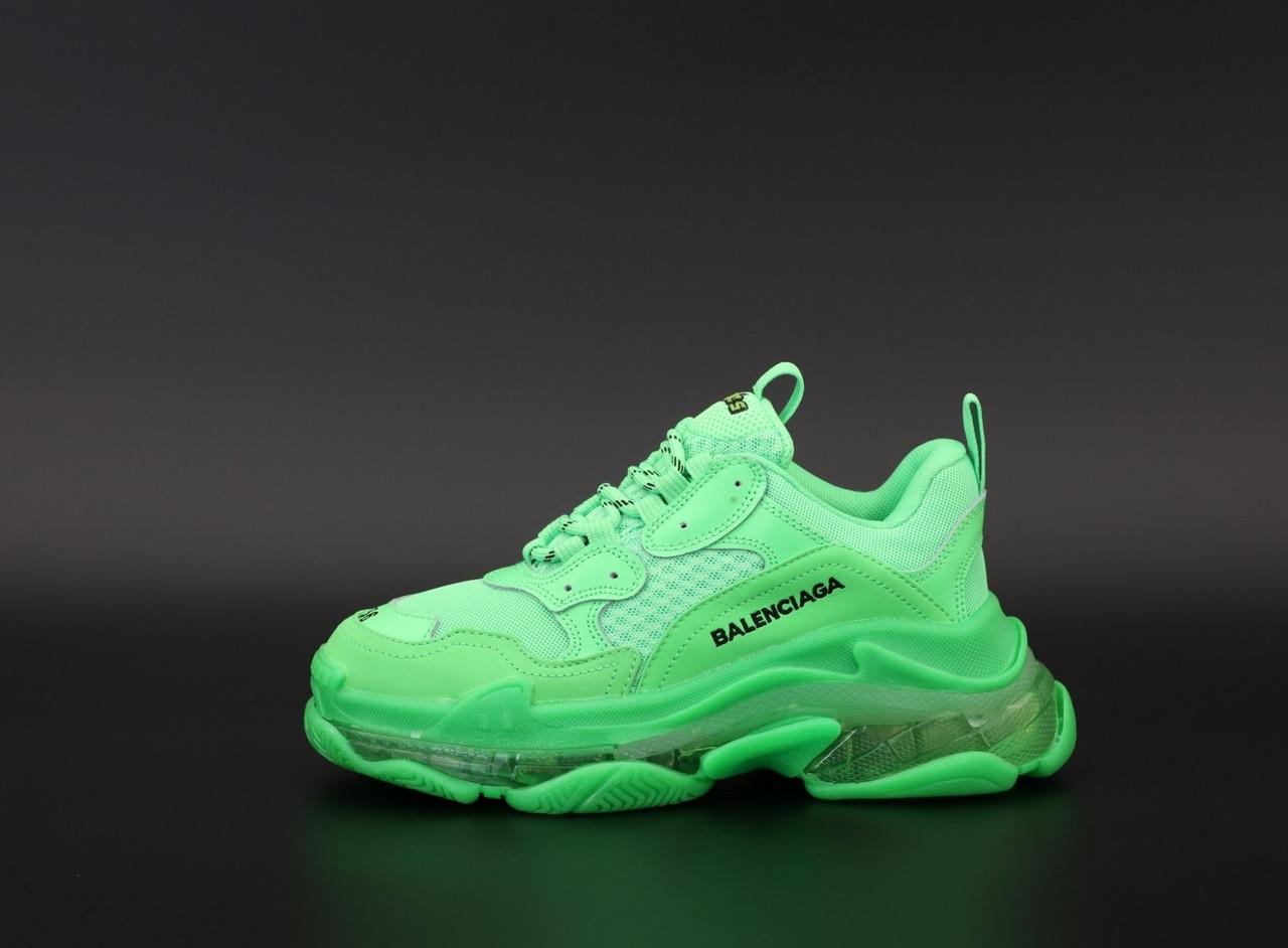 Жіночі кросівки Balenciaga Triple S clear sole neon green