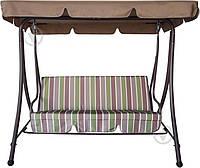 Садовая диван качель на 3 персоны бежеваяс навесом