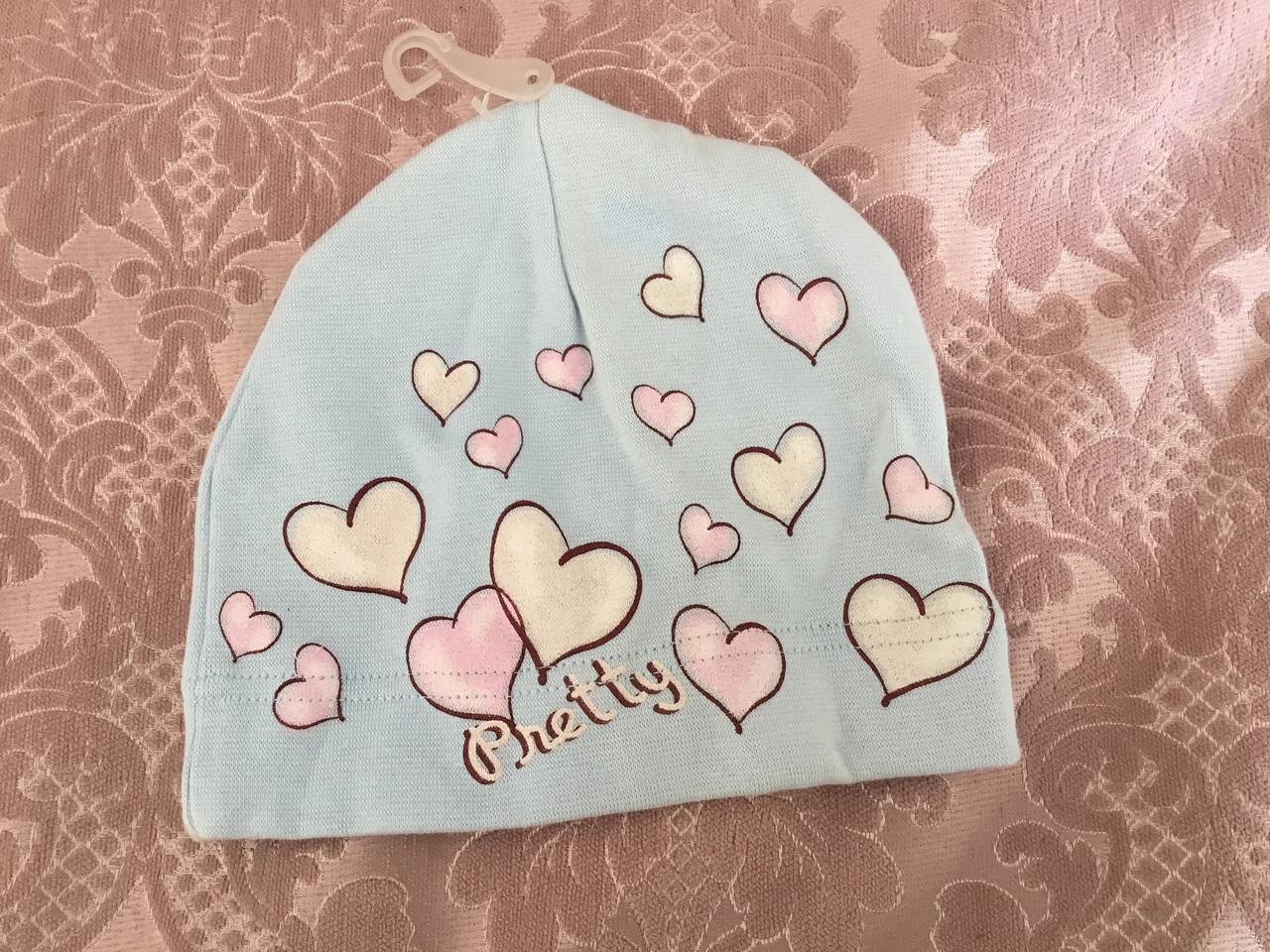 Летняя шапочка для девочки с сердечками
