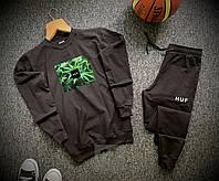 Спортивный раста костюм в стиле HUF черный свитшот + черные штаны на манжете