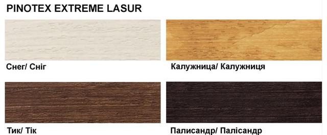 Pinotex Extreme Lasur основні кольори