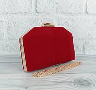 Велюровый клатч Rose Heart 22119 красный, сумочка на цепочке, фото 1