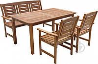 Большой садовый комплект мебели из дерева на 5 персон, фото 1