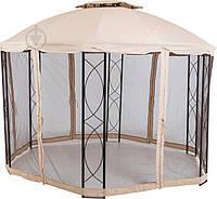 Павильон - беседка круглая из метала и текстиля с москитной сеткой  бежевая (3,5м * 3,5 м), фото 1