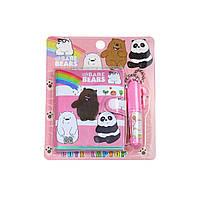 Блокнот детский с ручкой, три медведя розовый, Различные наборы для детского творчества, Різні набори для дитячої творчості, Блокнот дитячий з ручкою,