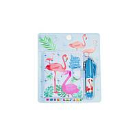 Блокнот детский с ручкой, фламинго голубой, Различные наборы для детского творчества, Різні набори для дитячої творчості, Блокнот дитячий з ручкою,
