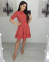 Красивое легкое мини платье горх Ткань софт Цвета: темно синий и красный