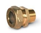 Муфта соединительная (труба-наружная резьба латунная) для гофрированной трубы из нержавейки Dispipe.