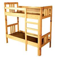 Ліжко дитяче 2-х ярусне з натуральної деревини