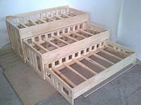 Ліжко дитяче 3-х ярусне з натуральної деревини