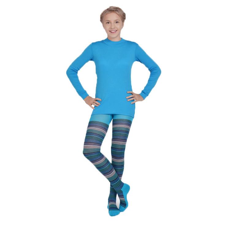 Термоколготки детские NORVEG Soft Merino Wool (размер 74-80, бирюзовый в полоску)