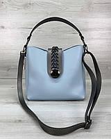 Сумочка голубого цвета! Женская мини сумка 57623 маленькая голубая молодежная через плечо