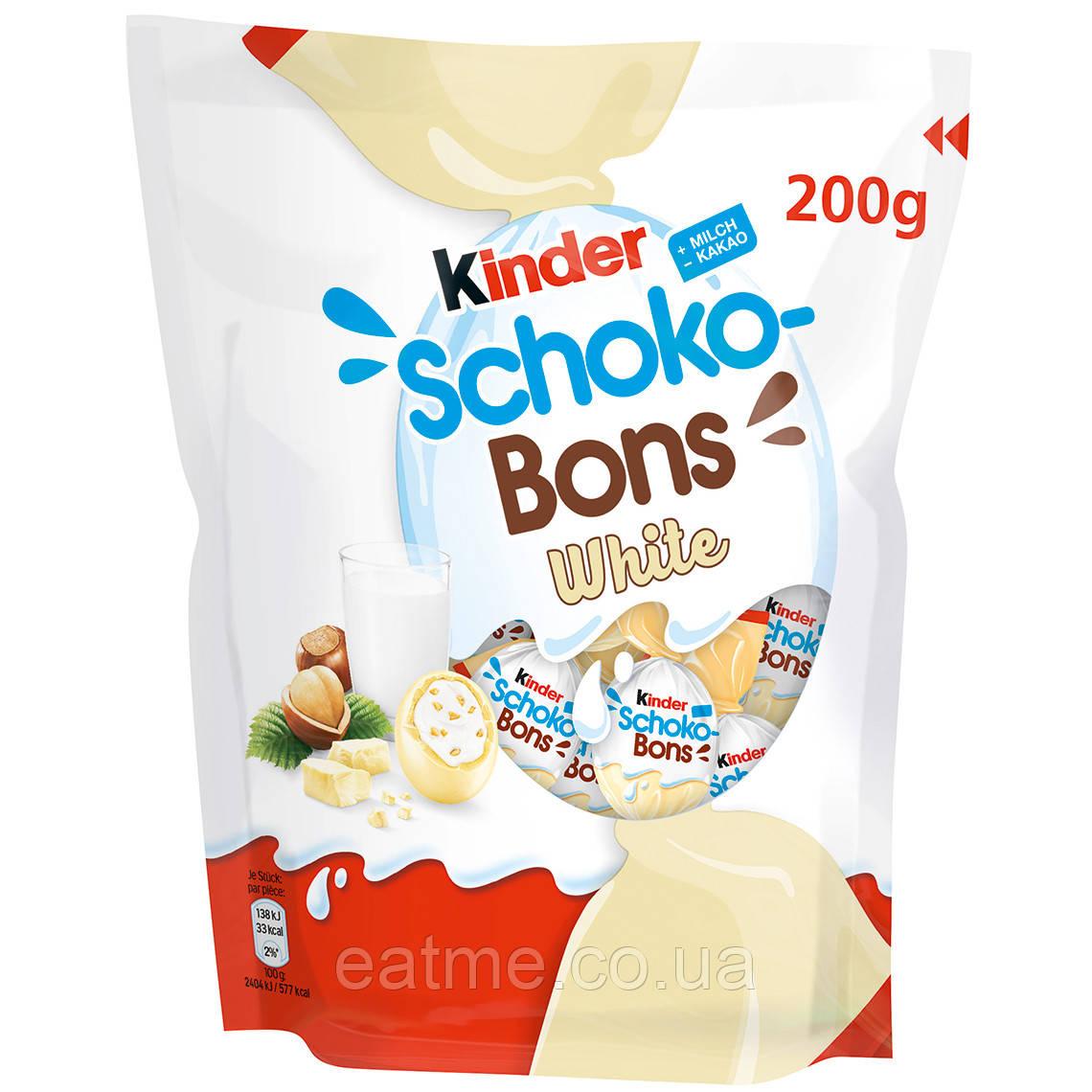 Kinder Schoko Bons Конфетки в виде мини яиц из белого шоколада со сливочной начинкой и дроблённым фундуком