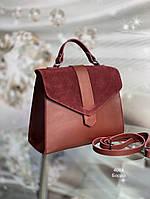Женская сумка-портфель гладкая эко-кожа замша Бордовая