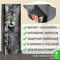 Виниловая магнитная наклейка на холодильник с рисунком кошки, магнит 180 х 60 см, только Лицевая сторона