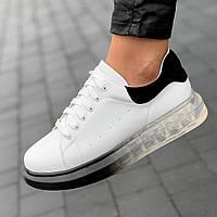 Женские кроссовки белые модные на высокой, толстой подошве, на платформе (Код: 1684)