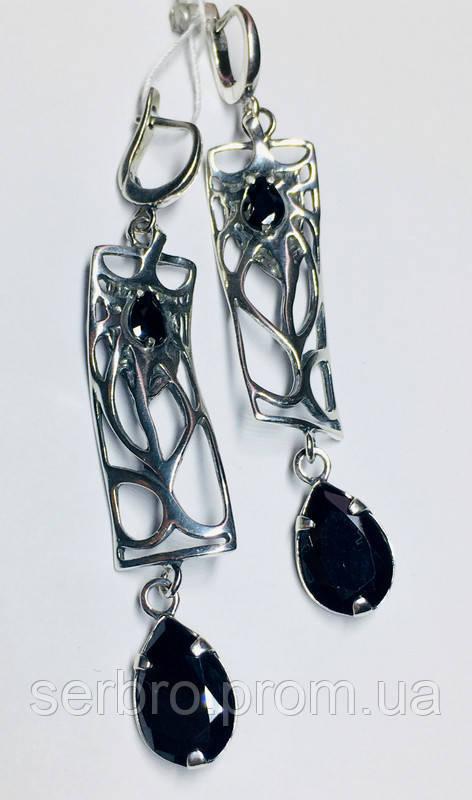 Срібні сережки з підвісом і чорним цирконом Тропік