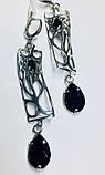 Срібні сережки з підвісом і чорним цирконом Тропік, фото 2