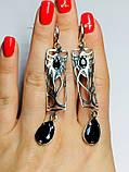 Срібні сережки з підвісом і чорним цирконом Тропік, фото 6