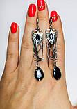 Срібні сережки з підвісом і чорним цирконом Тропік, фото 7