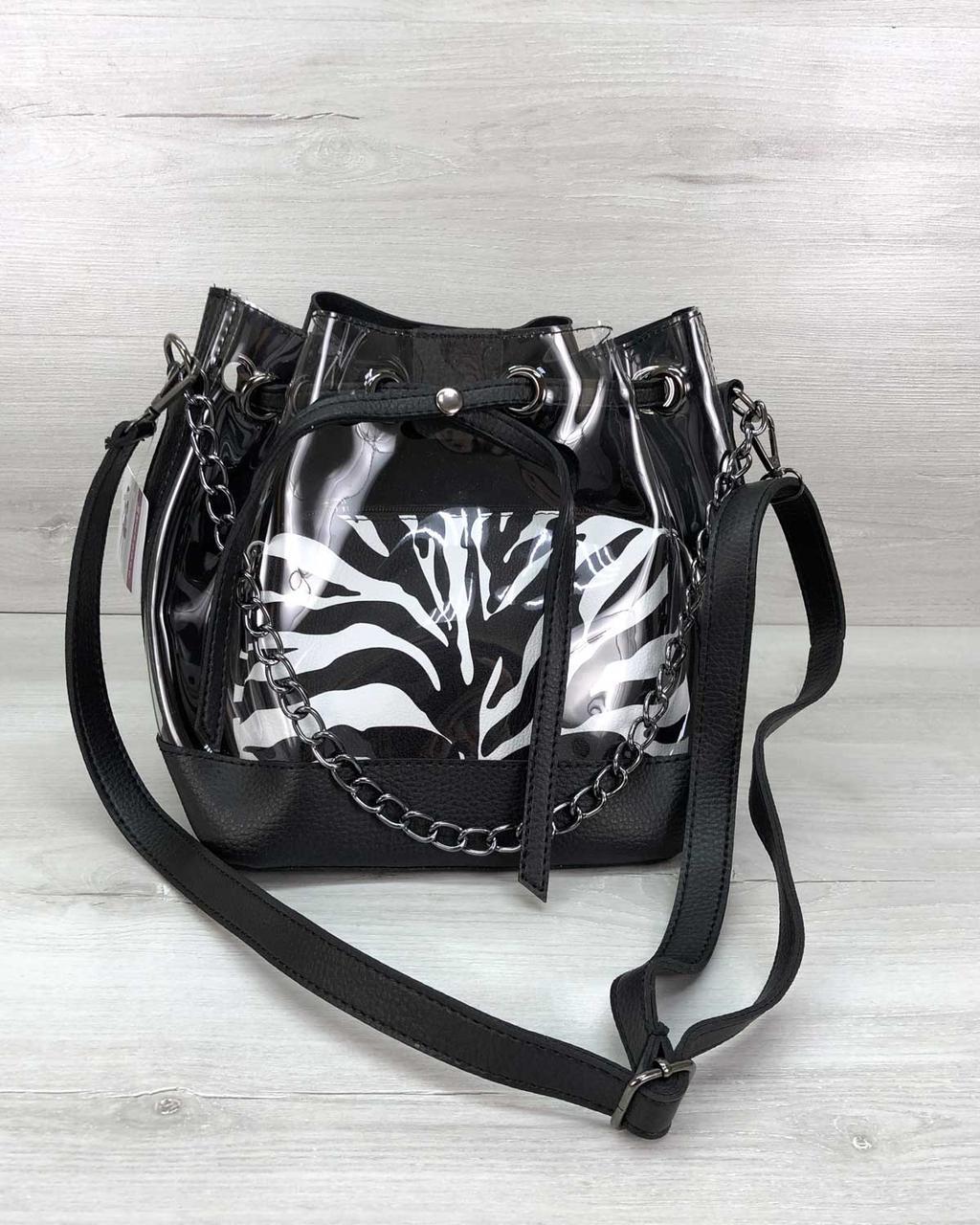 Прозрачная силиконовая женская сумка мешочек через плечо с косметичкой внутри